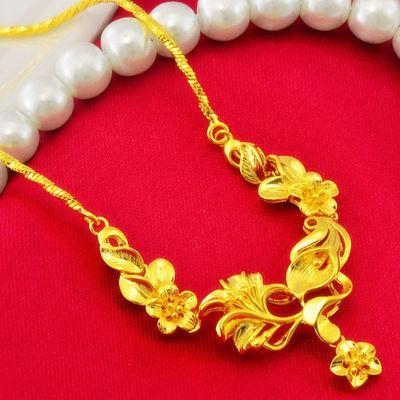 郁金香套链不掉色镀金项链女士3D硬金黄金色结婚新娘首饰时尚礼物