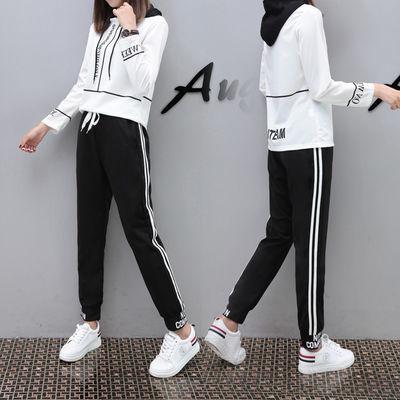 欧洲站学生韩版套装女2019秋季新款潮九分裤运动两件套女夏季时尚