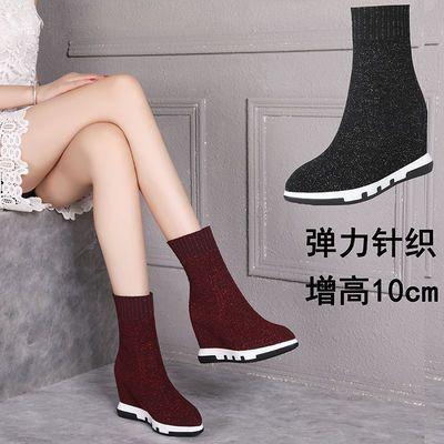 秋冬季新款内增高袜子鞋女新款针织弹力高帮靴子女韩版加绒马丁靴