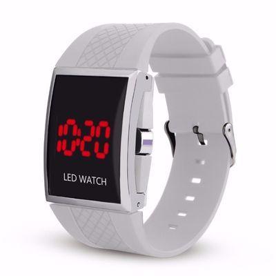 韩版时尚性学生潮流LED电子男士运动方型胶按键情侣学生 LED手表