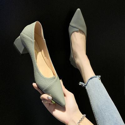 2020春季新款韩版少女高跟鞋粗跟百搭网红职业黑色尖头单鞋女中跟