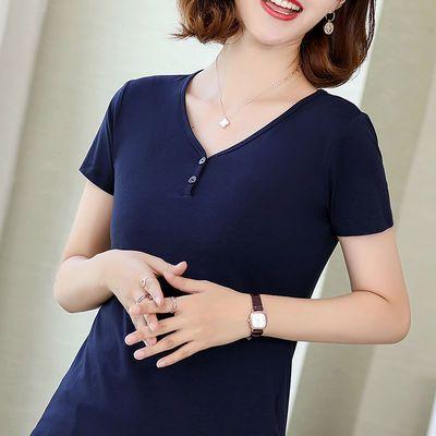 莫代尔棉夏装新款短袖t恤女纯色上衣大码女装半袖v领夏季打底衫女