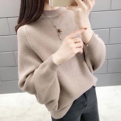 2019秋冬新款韩版百搭短款针织衫蝙蝠衫毛衣外套宽松长袖打底上衣