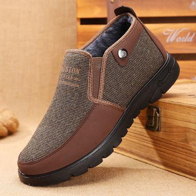 老北京棉布鞋男加绒中老年男士棉鞋保暖鞋男式老人软底爸爸鞋子冬