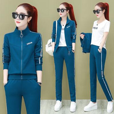 75棉运动套装女2020新款韩版潮大码宽松休闲女装时尚跑步服三件套