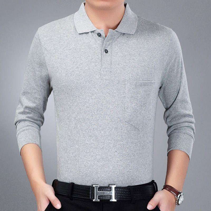 Mùa xuân và mùa thu trung niên nam dài tay áo sơ mi POLO size lớn sọc rộng có cổ áo thun bố tải áo phông giản dị