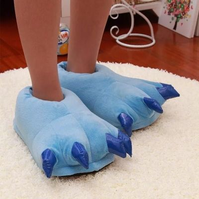 秋冬恐龙爪子虎爪子棉拖鞋卡通情侣包跟保暖鞋男女家居儿童怪兽鞋