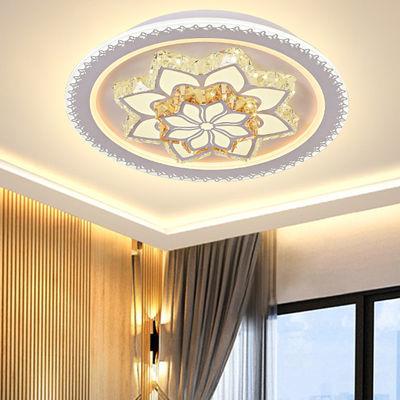 2019新款圆形水晶卧室客厅led吸顶灯家用温馨现代简约方形遥控灯