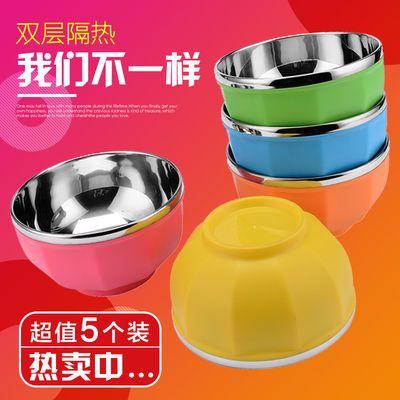 不锈钢饭碗筷家用套装儿童防烫防摔隔热宝宝米饭碗学生碗成人面碗