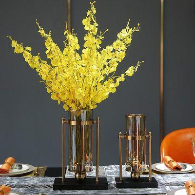 美式家居客厅餐桌玻璃花瓶摆件透明干花插花软装饰品创意轻奢摆设