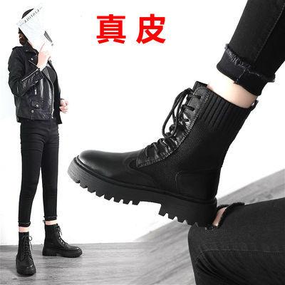 真皮马丁靴女秋冬新款潮靴子网红厚底短靴百搭英伦风韩版学生鞋子
