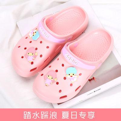 夏季新款洞洞鞋女士防滑沙滩鞋包头凉鞋孕妇护士厚底百搭拖鞋平底