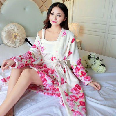 加绒加厚法兰绒睡袍女两件套睡衣长袖睡裙珊瑚绒浴袍秋冬款家居服