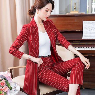 职业装女套装2020秋冬季新款英伦风衣气质正装中长款条纹西装外套