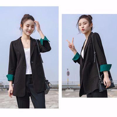 69178/小西装外套女2021春秋季新款韩版修身网红上衣长款小西服外套女