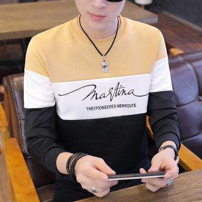 秋冬新款男士圆领套头卫衣加绒加厚韩版春装上衣男装T恤休闲外套