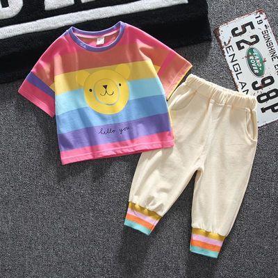 男童女童夏装2020新款韩版儿童纯棉条纹短袖洋气宝宝夏季套装薄款
