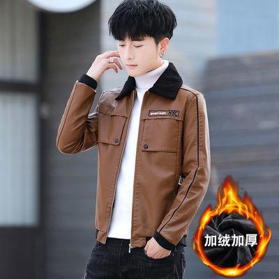 秋冬季新款时尚男装PU皮夹克韩版修身加绒加厚皮衣青少年休闲外套