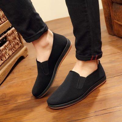 布鞋防滑男装单鞋45大码父亲休闲中老年人轻便透气男式平底帆布鞋
