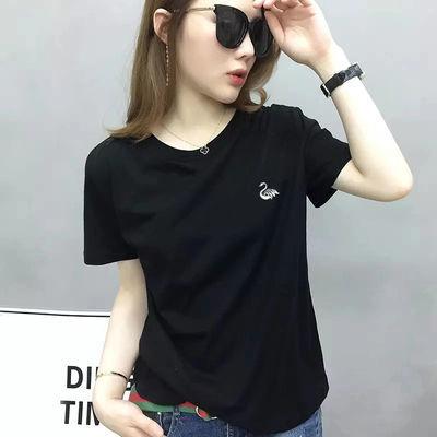 高品质纯棉黑色t恤女新款夏装短袖t恤女学生韩版宽松简约打底衫