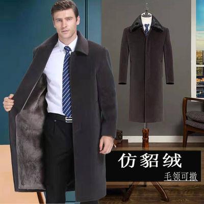 中老年仿水貂绒大衣中年男装毛呢加绒父亲冬季爸爸装男外套中长款
