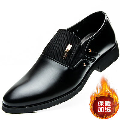 皮鞋男商务正装男鞋真皮牛皮休闲鞋一脚蹬男士内增高鞋子韩版潮流