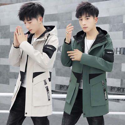 外套男中长款秋冬季韩版修身夹克男士风衣男装休闲工装潮流上衣服