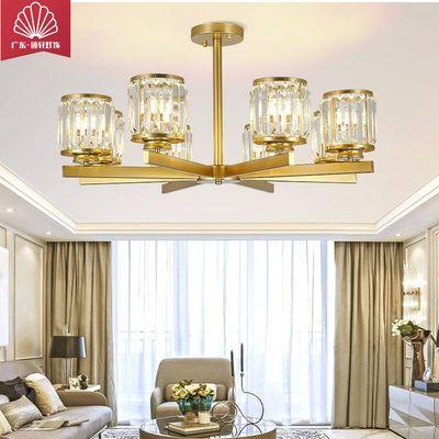 香槟金铜灯具水晶客厅灯餐厅灯书房卧室过道装饰吸顶吊灯送LED灯