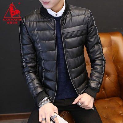 【库奇公鸡】棉衣男冬季韩版皮衣时尚外套男装保暖上衣PU皮棉袄男