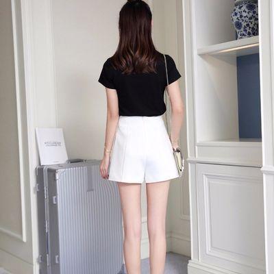 短裤女春夏高腰2019宽松阔腿韩版百搭西装雪纺a字白色休闲裤