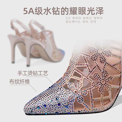 清仓断码夏季新款水钻凉鞋女鞋子性感高跟鞋细跟镂空网纱单鞋女士
