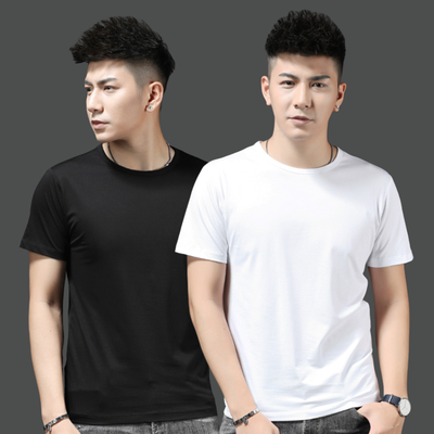 新款纯色短袖T恤男衣服夏季薄款修身百搭男士白色打底衫半袖潮流