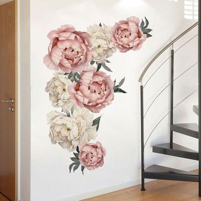 喷绘墙贴牡丹花 Ebay爆款客厅卧室墙壁贴画富贵牡丹FX64057