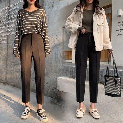 毛呢西裤女冬季加厚高腰显瘦九分裤直筒矮个子长裤哈伦妈妈休闲裤