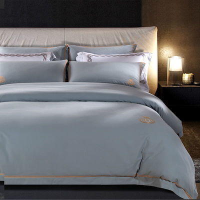 秋冬加厚100%纯棉磨毛四件套纯色简约酒店风全棉绣花高端床上用品
