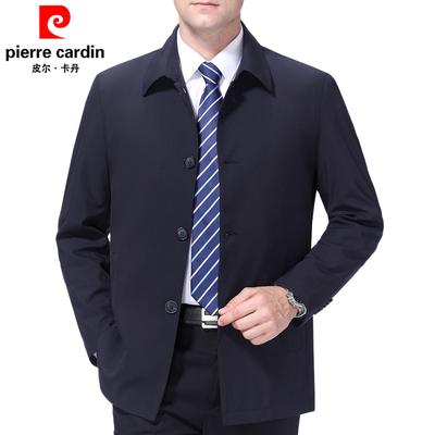皮尔卡丹夹克中年男士春秋男装夹克衫薄款商务休闲中老年翻领外套