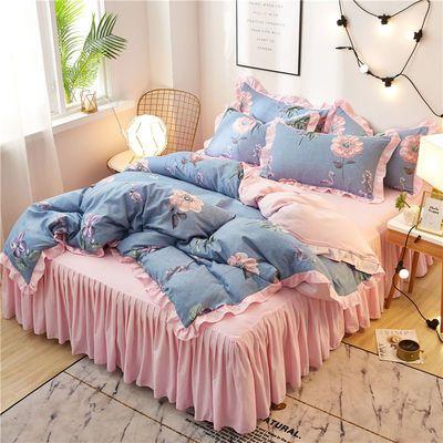 新款韩版床裙四件套床上用品加厚磨毛公主花边床罩被套床上4件套
