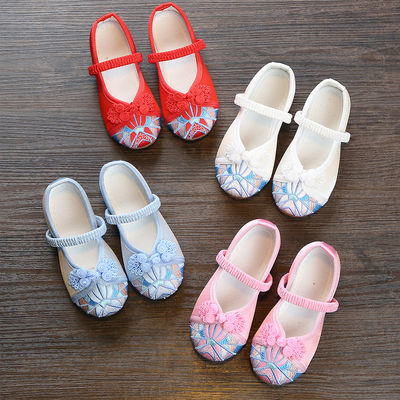 新款女童汉服鞋古装绣花鞋儿童公主布鞋古风鞋子中国风童鞋演出鞋