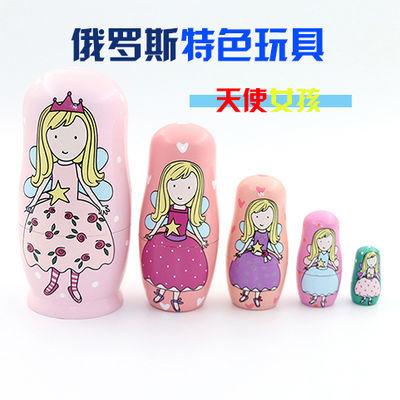 旅游木质工艺品 天使女孩俄罗斯手绘五层套娃 5层儿童益智玩具