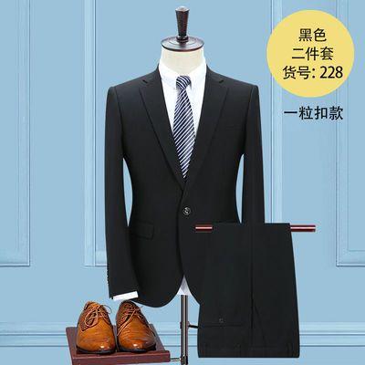 男装免烫不沾灰西装套装男士修身黑西服三件套商务职业正装中青年