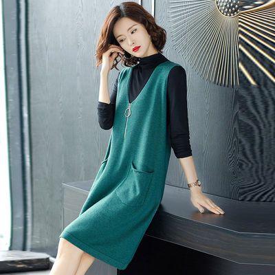 秋冬装新款两件套女装韩版修身上衣女宽松休闲外搭无袖针织连衣裙