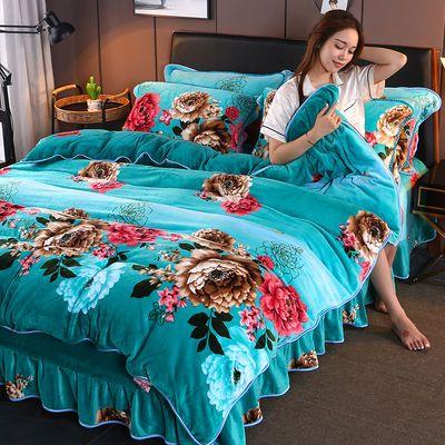 加厚床裙款金貂绒四件套保暖法莱被套冬季加绒珊瑚绒法兰绒四件套