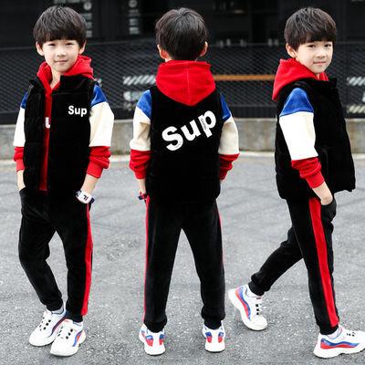 童装2020新款儿童卫衣三件套装加绒加厚金丝绒男童韩版中大童冬季