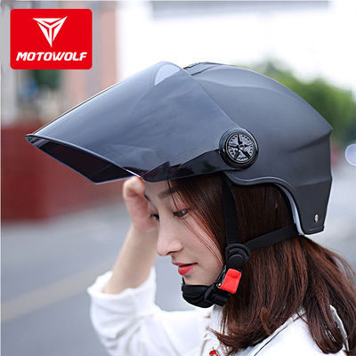 摩多狼电动摩托车头盔双镜片外卖骑行防晒半盔男女防摔安全帽夏季