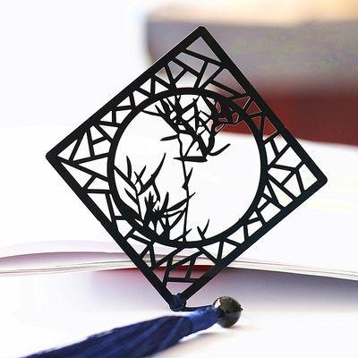 听竹古典金属书签不锈钢烤漆书签古风剪纸风窗形书签文创礼品