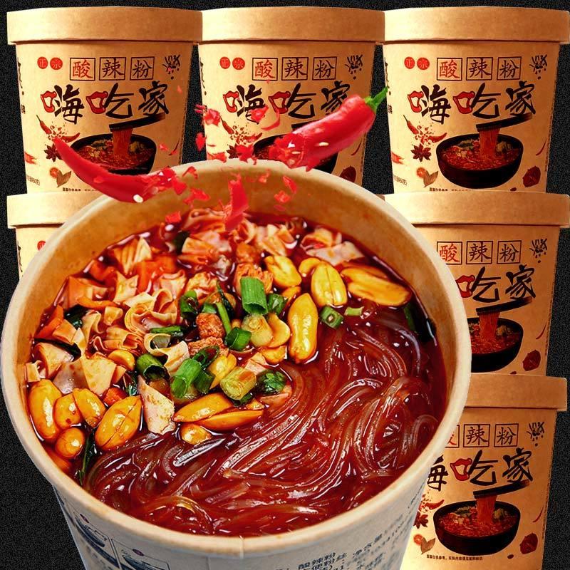 酸辣粉嗨吃家大桶装整箱批发重庆红薯粉宿舍速食品网红零食小吃
