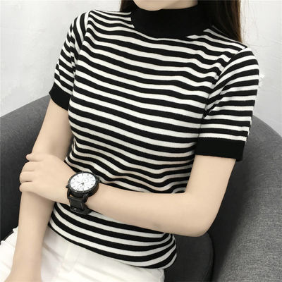 春夏半高领短袖薄款针织衫T恤女黑白条纹中领修身打底衫半袖上衣