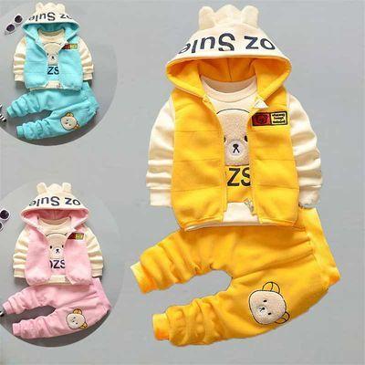 女童装秋冬装0-1-2-3岁男宝宝春秋衣服婴儿童冬款棉衣三件套装潮