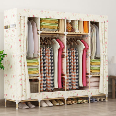 简易衣柜实木布衣柜双人大号牛津布推拉门简约组装布艺衣橱收纳柜