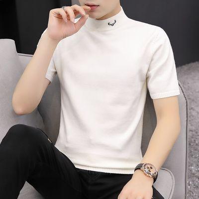 男士短袖T恤半高领秋季新款白色修身半袖毛衣打底针织衫个性体恤